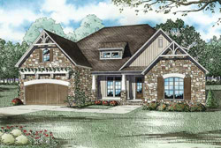 French-Country Style Home Design Plan: 12-1089