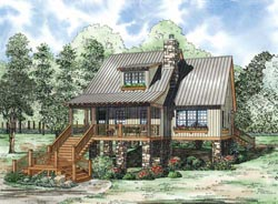 Mountain-or-Rustic Style Home Design Plan: 12-1106