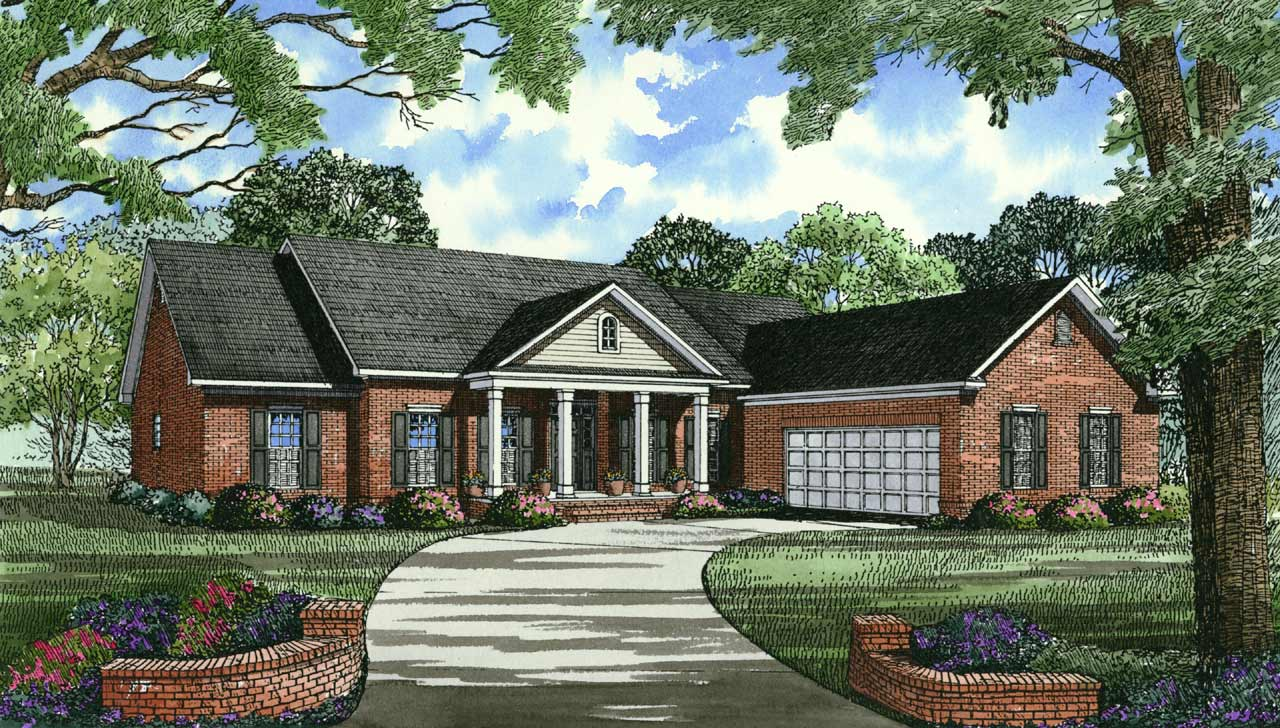 Southern Style Home Design Plan: 12-114