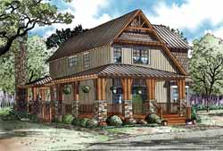 Mountain-or-Rustic Style Home Design Plan: 12-1168