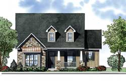 Country Style Home Design Plan: 12-1229