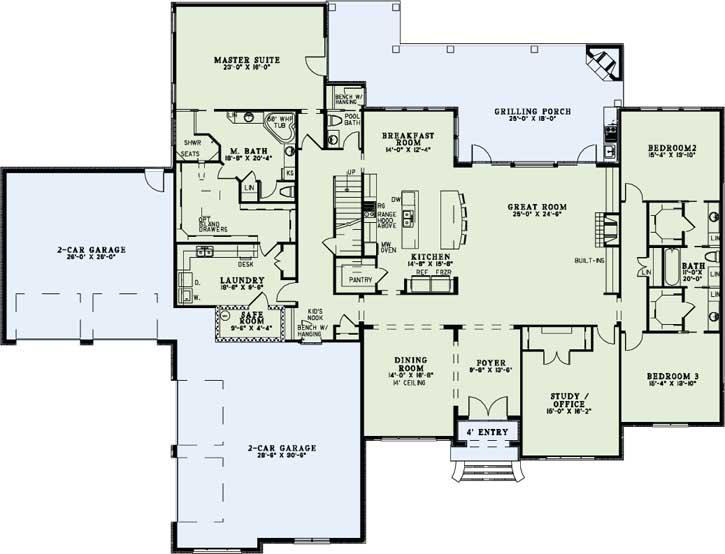 European House Plan 3 Bedrooms 3 Bath 4076 Sq Ft Plan