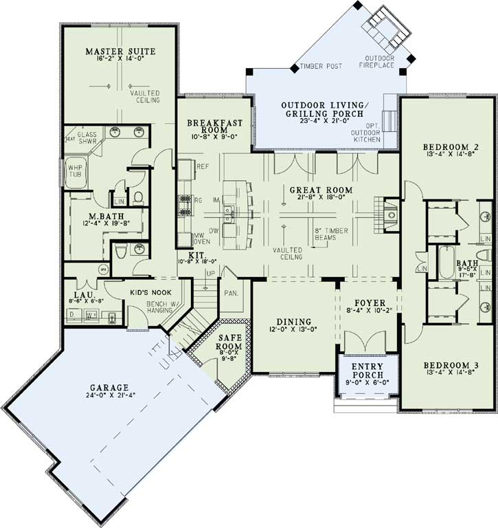 European House Plan 3 Bedrooms 2 Bath 2408 Sq Ft Plan 12