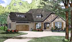 European Style Home Design Plan: 12-1292