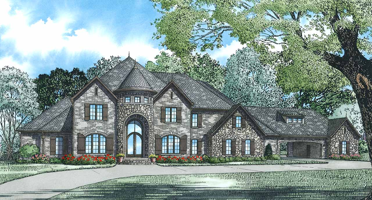 European Style Home Design Plan: 12-1300