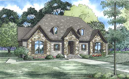 European Style Home Design Plan: 12-1309