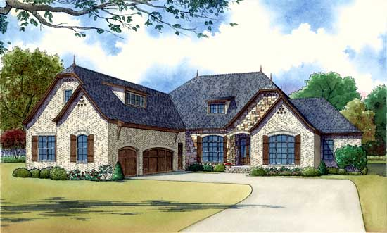 French-country Style House Plans Plan: 12-1398