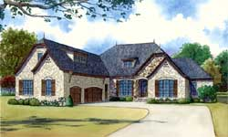 French-Country Style Home Design Plan: 12-1398