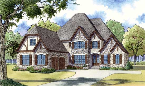 European Style Home Design Plan: 12-1412