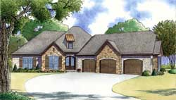 European Style Home Design Plan: 12-1420