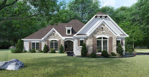 French-country Style Home Design Plan: 12-1445