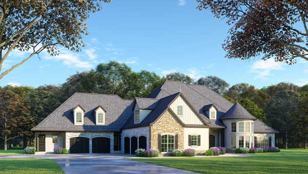 French-country Style Home Design Plan: 12-1472