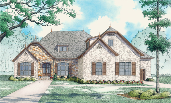 French-country Style Home Design Plan: 12-1478
