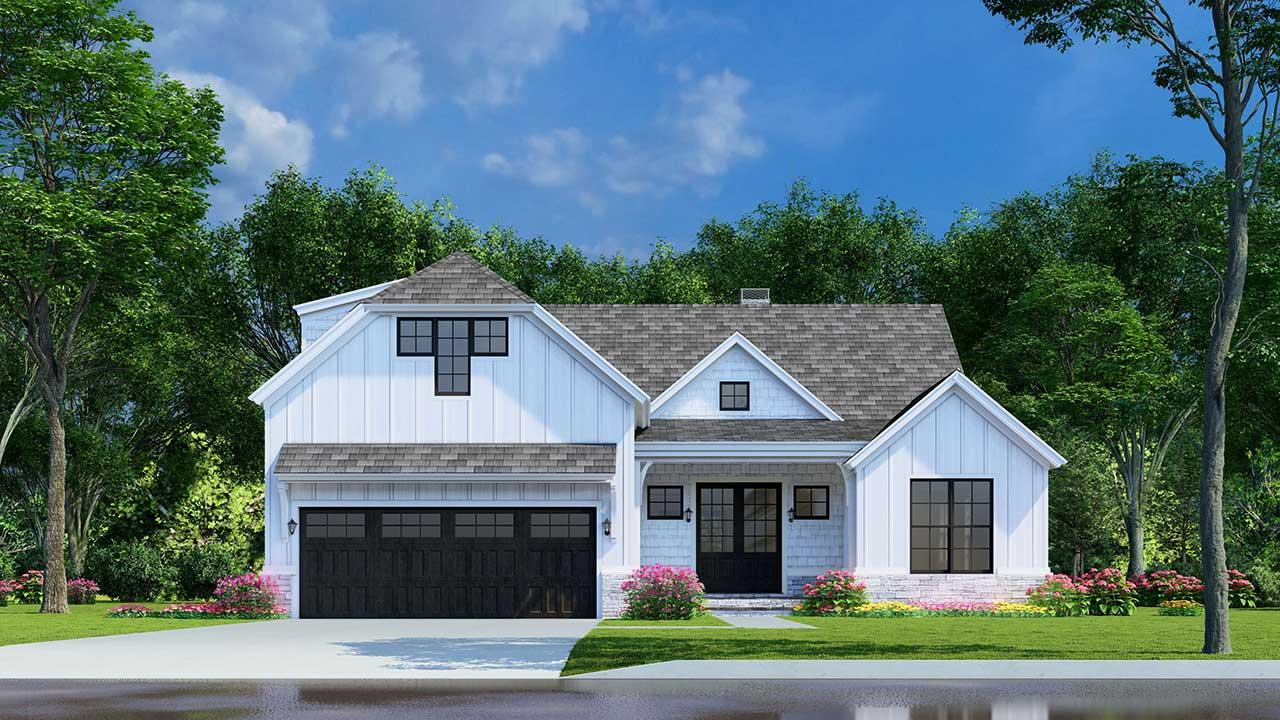 Modern-farmhouse Style Home Design Plan: 12-1537