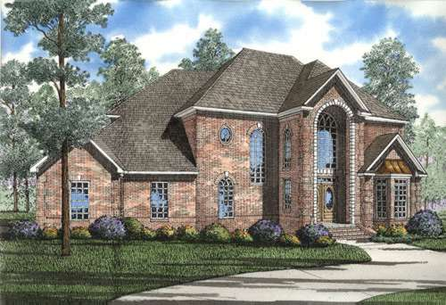 European Style Home Design Plan: 12-175