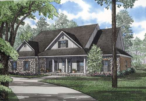 Country Style Home Design Plan: 12-183