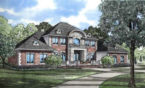 European Style Home Design Plan: 12-197