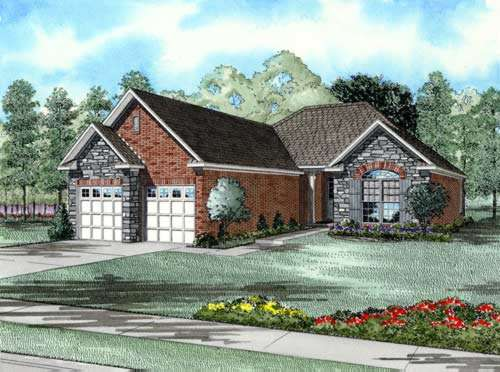 French-country Style Home Design Plan: 12-218