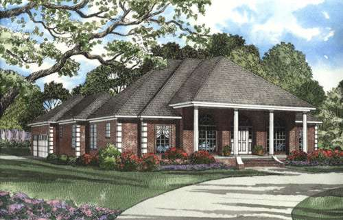 Southern Style Home Design Plan: 12-381