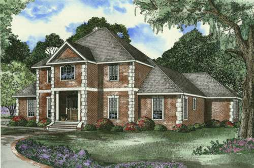 European Style Home Design Plan: 12-394