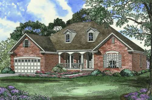 Southern Style Home Design Plan: 12-395