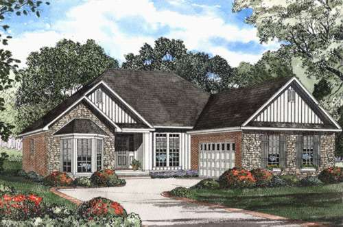 French-country Style Home Design Plan: 12-451