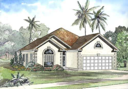 Mediterranean Style Home Design Plan: 12-457