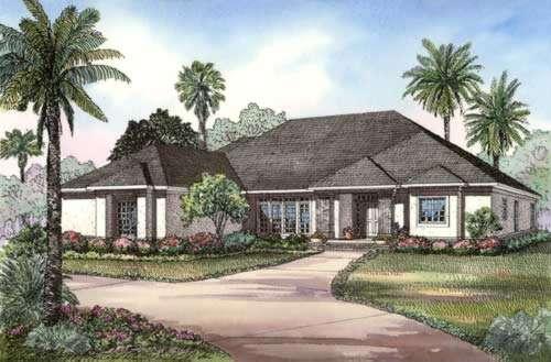 Florida Style Home Design Plan: 12-458