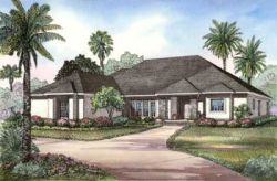 Florida Style Floor Plans Plan: 12-458
