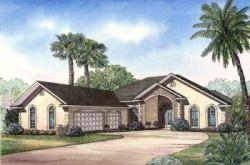 Mediterranean Style Home Design Plan: 12-459