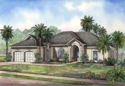 Mediterranean Style Home Design Plan: 12-466