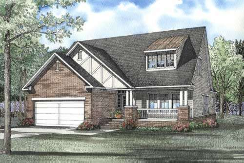 English-country Style Home Design Plan: 12-491