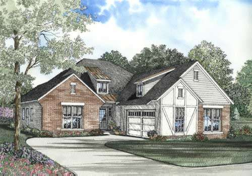 English-country Style Home Design Plan: 12-492
