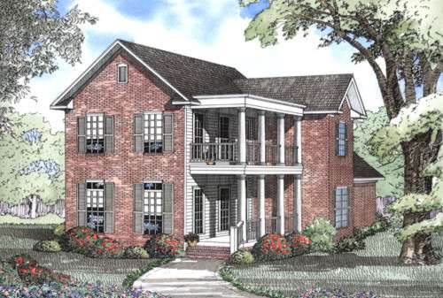 Southern Style Home Design Plan: 12-505