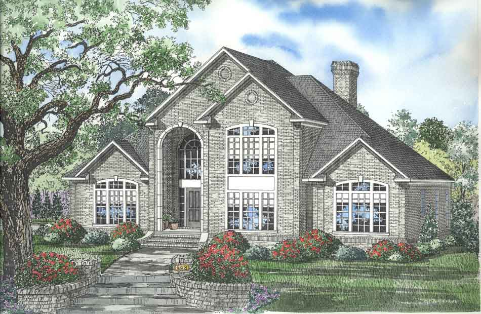 European Style Home Design Plan: 12-564