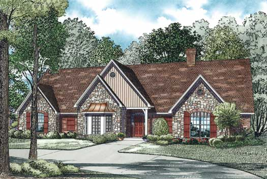 English-country Style Home Design Plan: 12-565