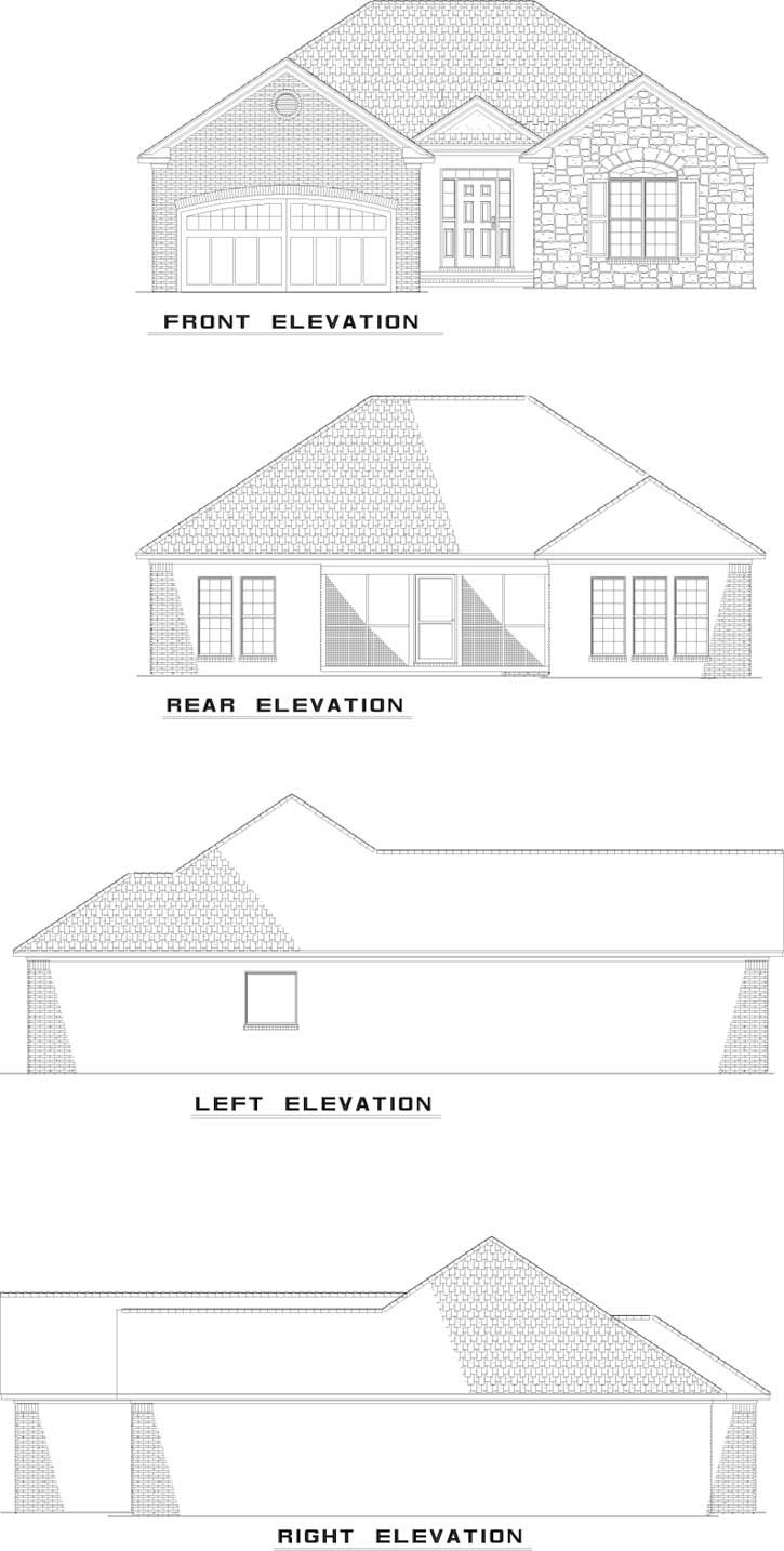 Rear Elevation Plan: 12-678