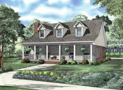 Country Style Home Design Plan: 12-696