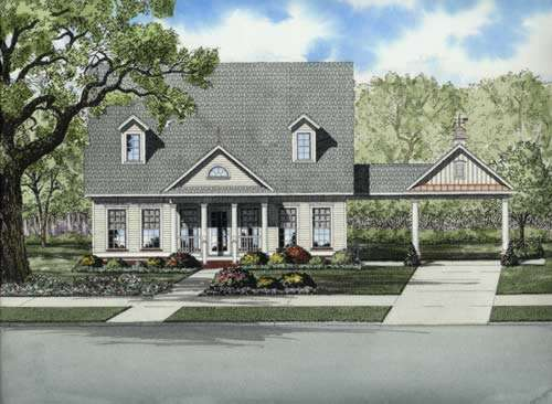 Country Style Home Design Plan: 12-734