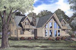 Log-Cabin Style Home Design Plan: 12-781