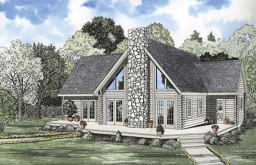 Log-cabin Style Home Design Plan: 12-785