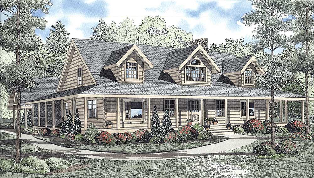 Log-cabin Style Floor Plans Plan: 12-787