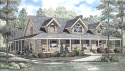 Log-Cabin Style Home Design Plan: 12-787
