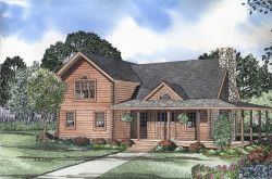 Log-Cabin Style Home Design Plan: 12-788