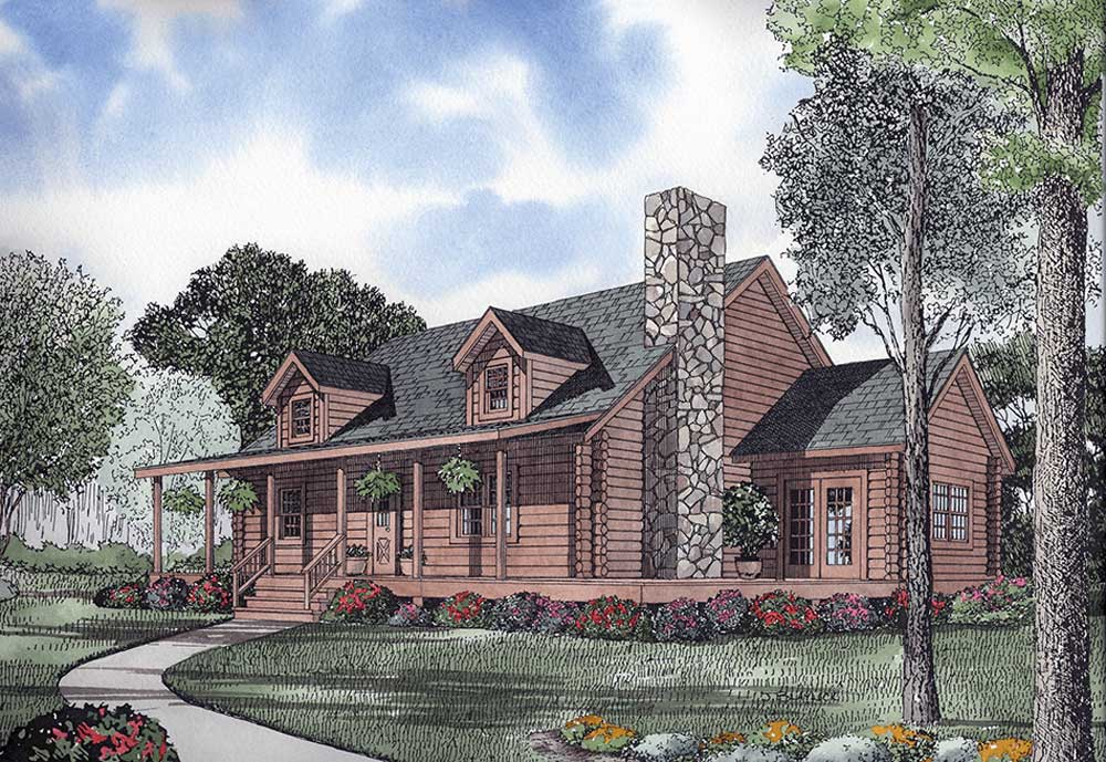 Log-cabin Style Home Design Plan: 12-795
