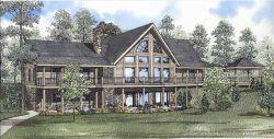 Log-Cabin Style Home Design Plan: 12-803
