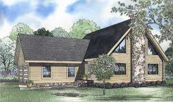 Log-Cabin Style Home Design Plan: 12-804