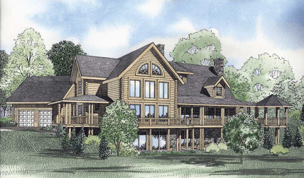 Log-cabin Style Home Design Plan: 12-808