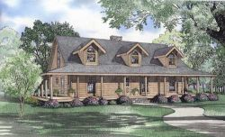 Log-Cabin Style Home Design Plan: 12-815