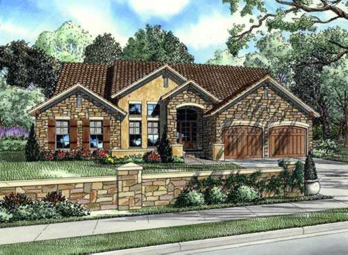 Tuscan Style Home Design Plan: 12-873